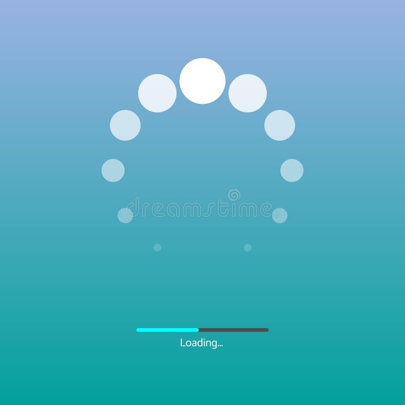 Bianco al preloader trasparente, progresso aspettante della pagina Web Icona di carico isolata su fondo blu e verde royalty illustrazione gratis