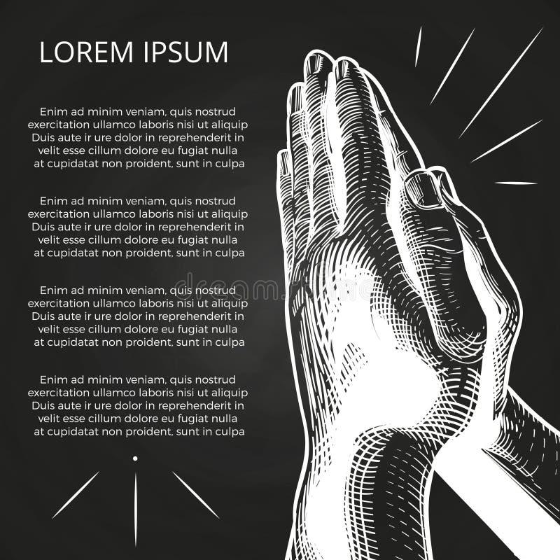 Bianco che prega le mani, preghiera sulla bibbia illustrazione vettoriale