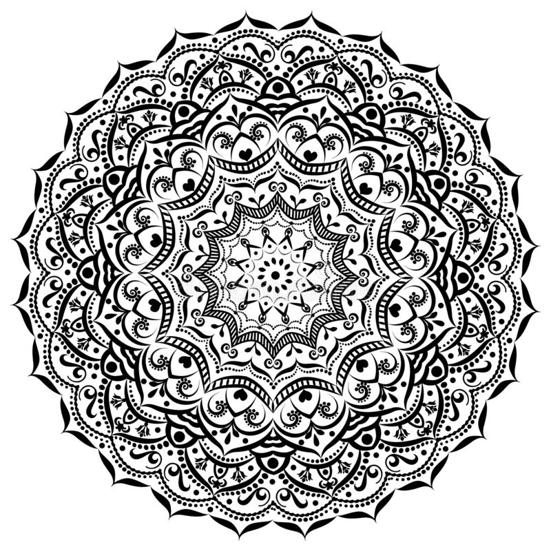 bianco circolare del nero della mandala dell'ornamento Priorit? bassa ornamentale illustrazione di stock