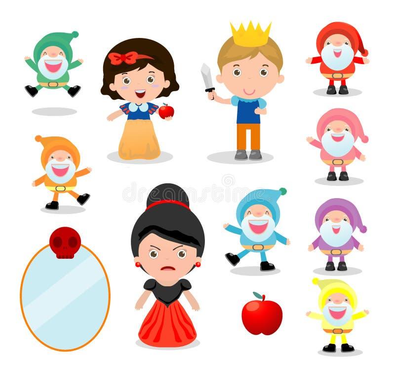 Bianco come la neve ed i sette nani, Biancaneve su fondo bianco, principe, principessa e nani e strega, illustrazione di vettore illustrazione vettoriale