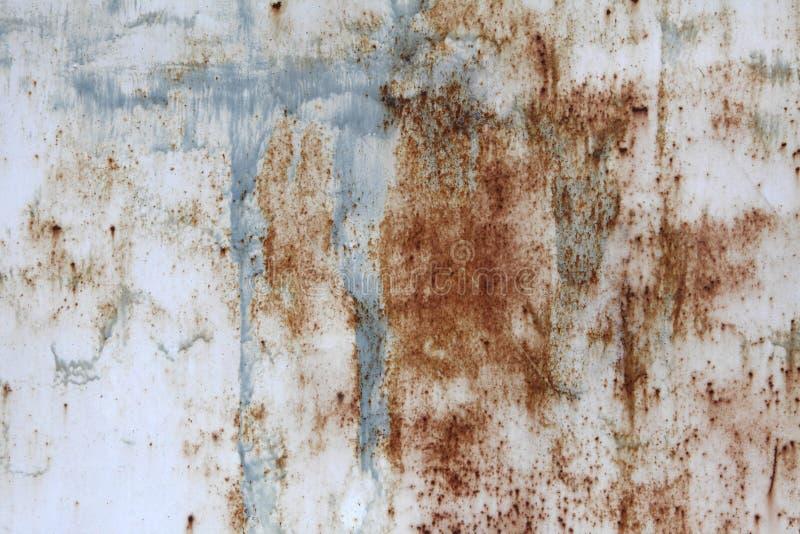 Bianco corroso e dipinto con i punti di pittura blu, vecchia lamina di metallo Priorità bassa per il vostro disegno fotografia stock libera da diritti
