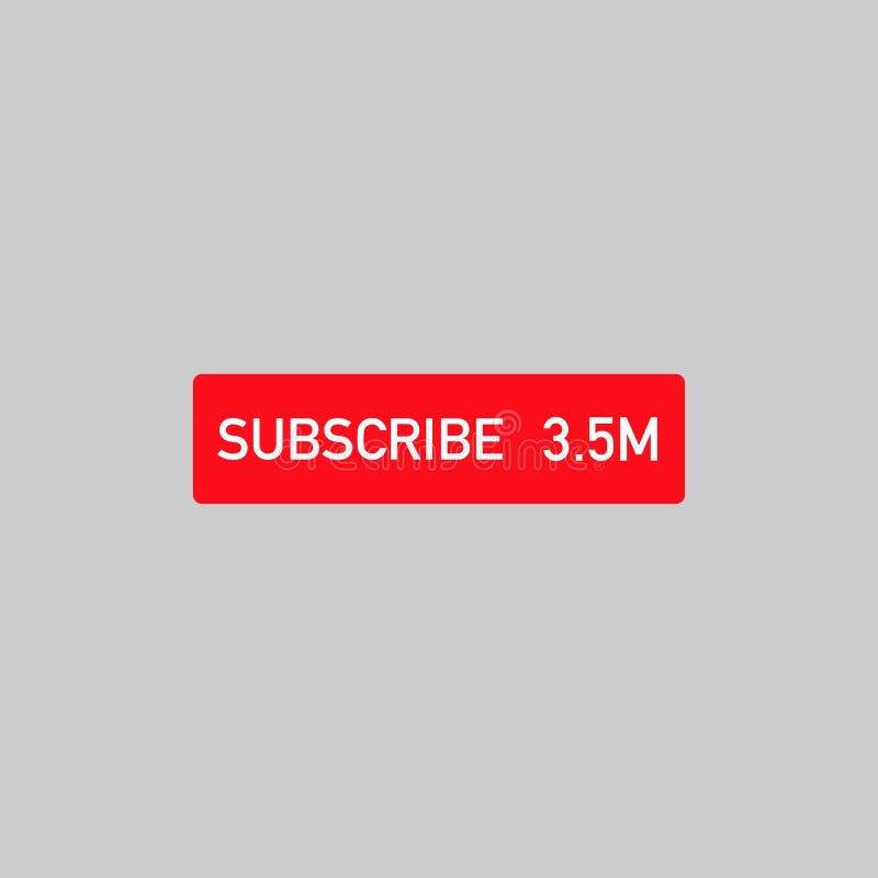 bianco del bottone del suscribe sui media sociali rossi illustrazione vettoriale