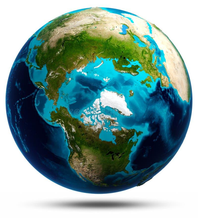 Bianco del globo della terra isolato illustrazione vettoriale