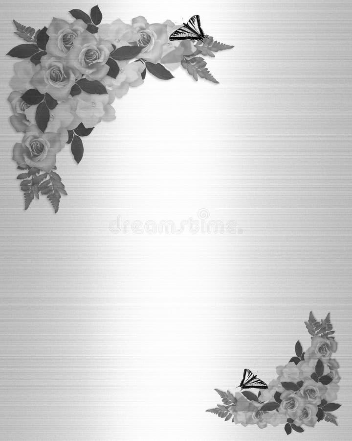 Bianco del nero delle rose dell'invito di cerimonia nuziale illustrazione vettoriale