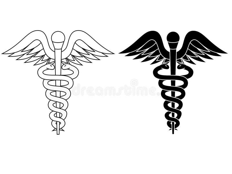Bianco del nero di simbolo della farmacia del caduceo isolato illustrazione vettoriale