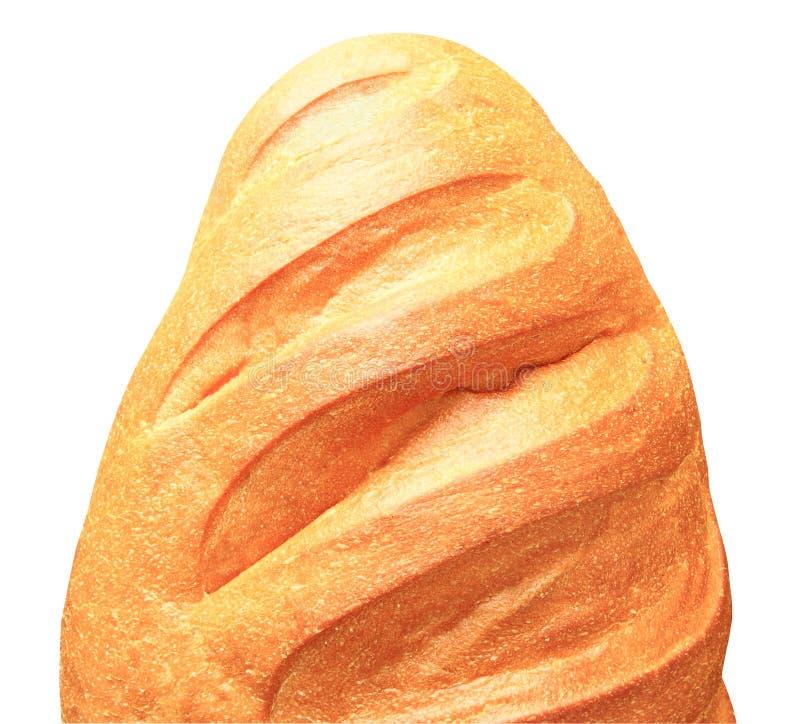 Bianco del pane di frumento di vista superiore della farina dalla metà isolata su fondo bianco con il percorso di ritaglio immagini stock libere da diritti