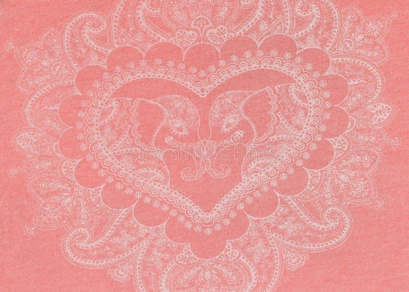 Bianco delicato assorbito del cuore su un fondo rosa illustrazione di stock