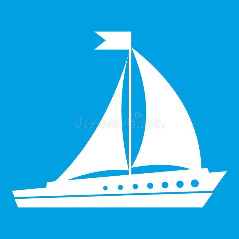 Bianco dell'icona della nave di navigazione illustrazione vettoriale