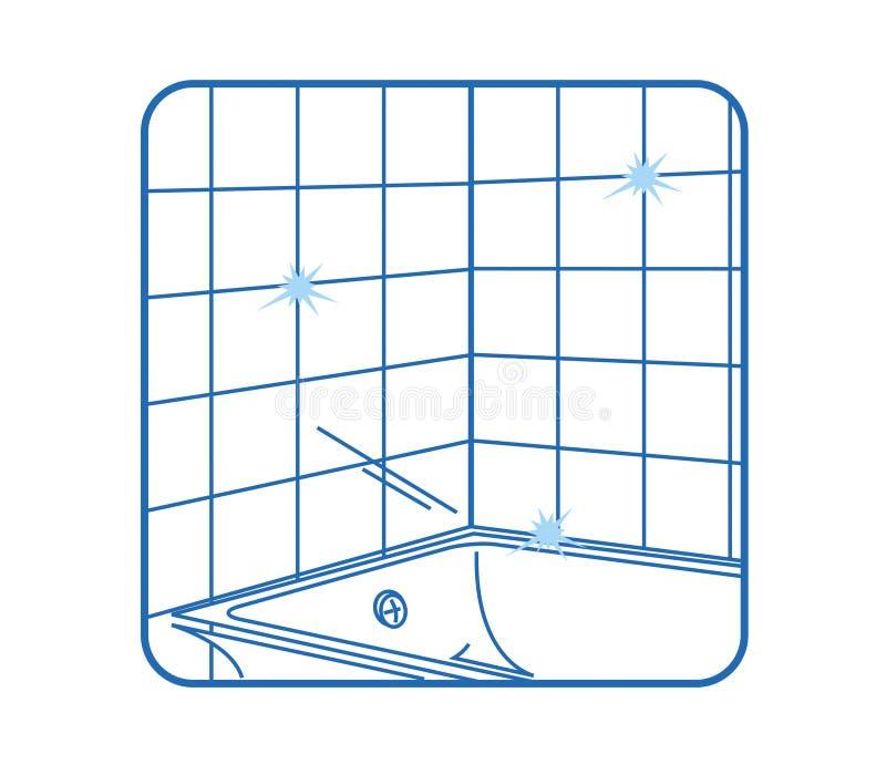 Bianco dell'icona della stanza da bagno royalty illustrazione gratis