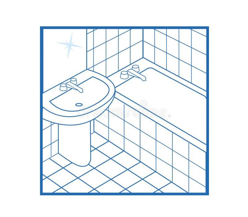 Bianco dell'icona della stanza da bagno fotografia stock libera da diritti