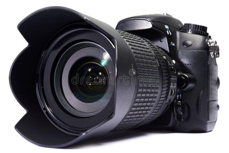Bianco della macchina fotografica di DSLR isolato immagini stock
