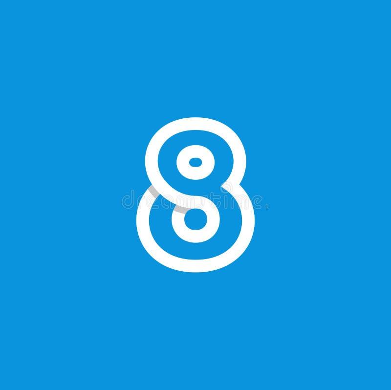 Bianco di Logo Number 8 di vettore illustrazione vettoriale