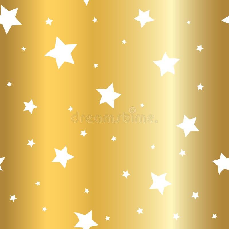 Bianco di scintillio del fumetto del fondo dell'oro delle stelle royalty illustrazione gratis
