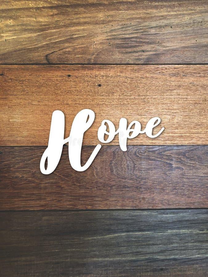 ` Bianco di speranza del ` del testo sulla bella parete di legno d'annata fotografia stock