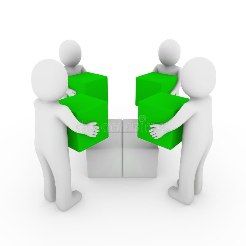 bianco di verde della squadra della casella del peoplecube 3d royalty illustrazione gratis