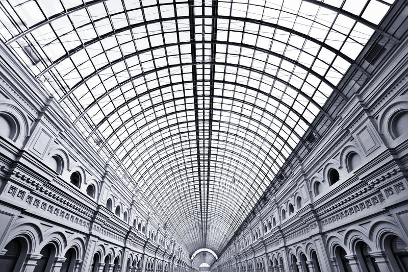 Bianco di vetro vuoto senza fine della galleria fotografia stock libera da diritti