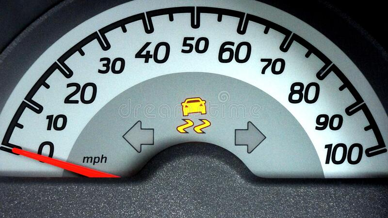 Bianco e Grey Car Speedometer Gauge su 0 Miles Per Hour immagini stock
