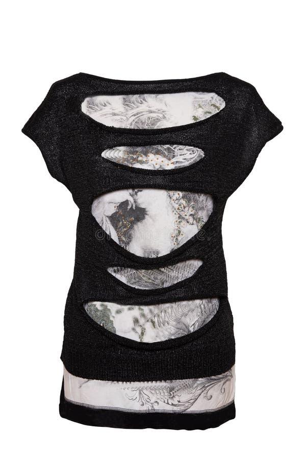 In bianco e nero dall'abbigliamento della donna isolato su fondo bianco Un vestito femminile in bianco e nero elegante da estate  fotografie stock libere da diritti