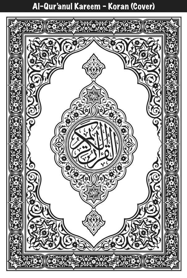 Bianco e nero della copertura di Corano illustrazione di stock