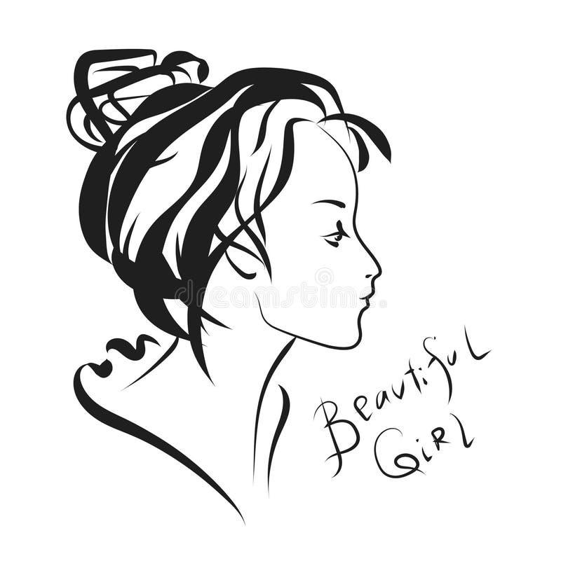 Bianco e nero di profilo della giovane donna fotografia stock libera da diritti