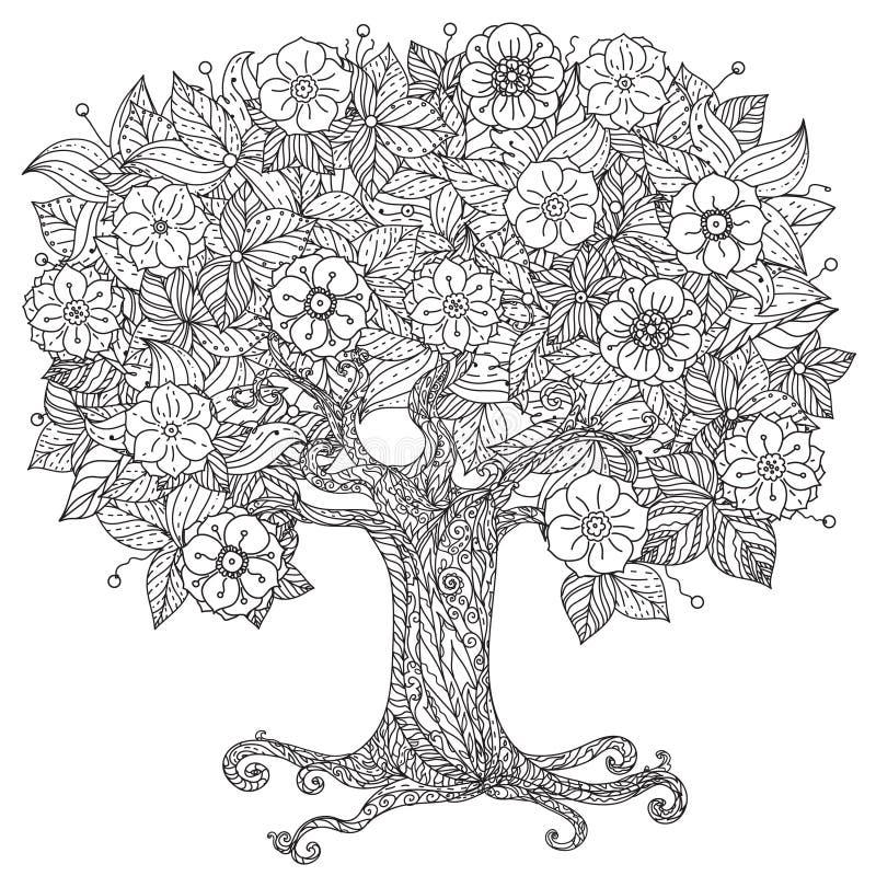 In bianco e nero floreale di oriente del cerchio illustrazione di stock