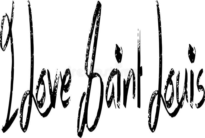 In bianco e nero io illustrazione del Saint Louis di amore illustrazione vettoriale