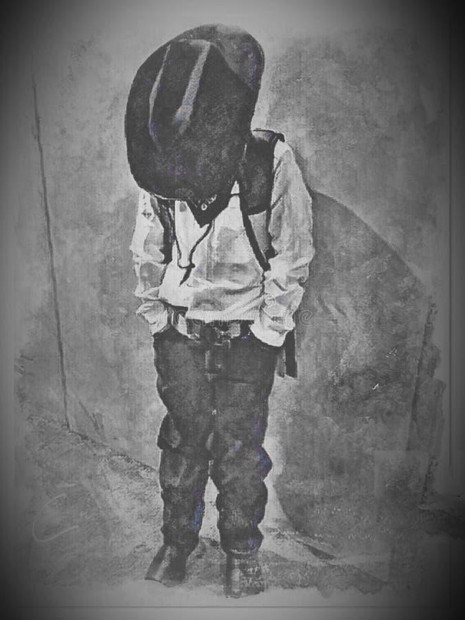 In bianco e nero sopportato per essere un cowboy fotografia stock libera da diritti