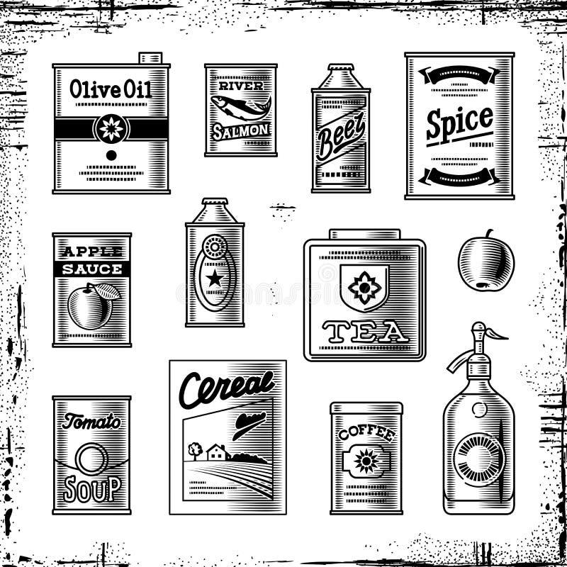In bianco e nero stabilito della retro drogheria royalty illustrazione gratis