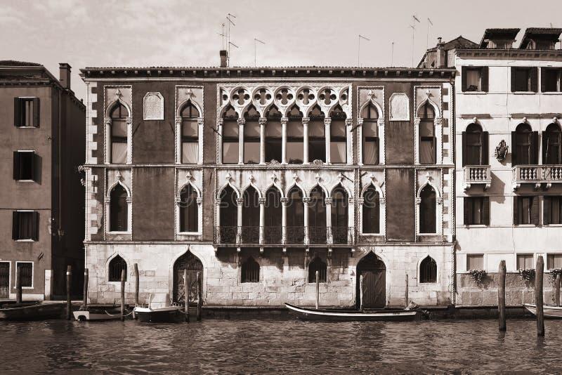 Bianco e nero veneziano dell'annata di venezia di Venezia Veneto immagini stock