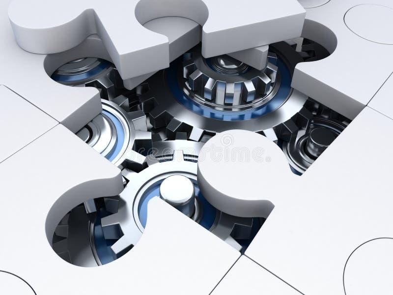 Bianco ed ingranaggio di puzzle illustrazione di stock