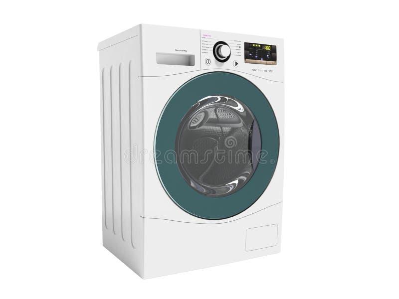 Bianco elettrico multifunzionale moderno della lavatrice con il ri blu fotografie stock libere da diritti
