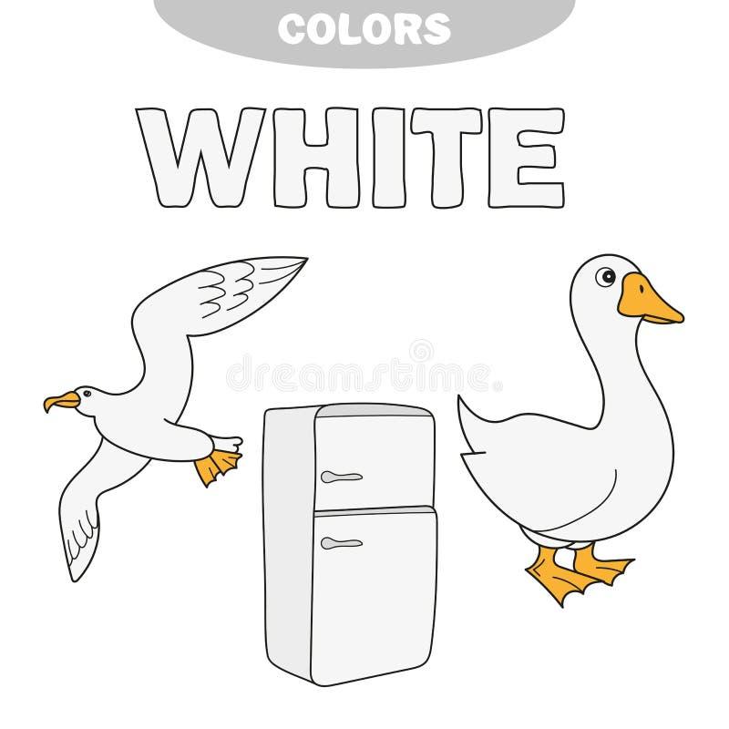 Bianco- impari i colori, bambini stanno imparando i colori, foglio di lavoro illustrazione di stock