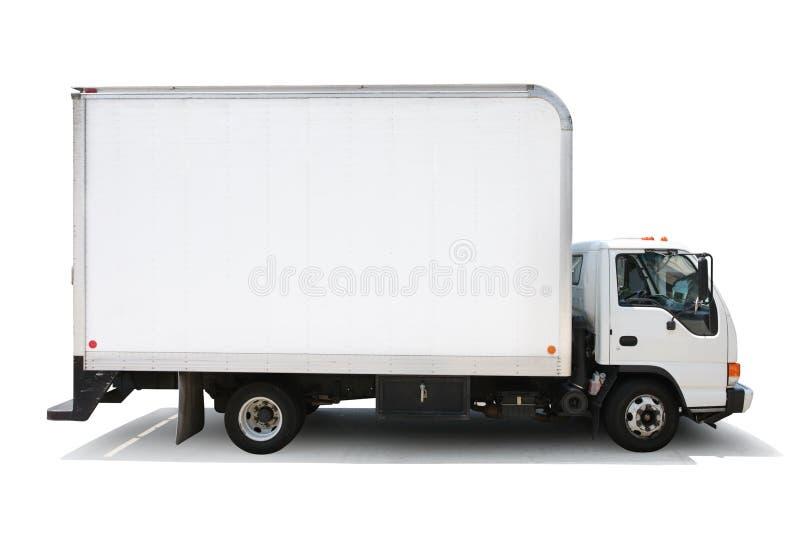 Bianco isolato del camion di consegna immagine stock