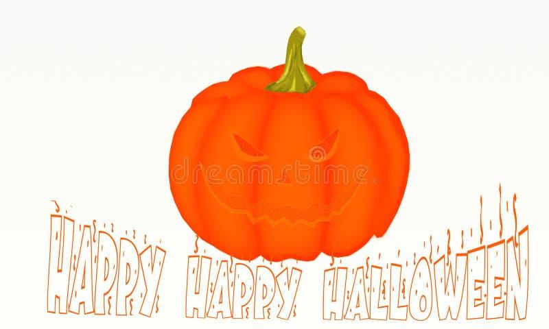 Bianco isolato Jack O'Lantern di Halloween della zucca immagine stock