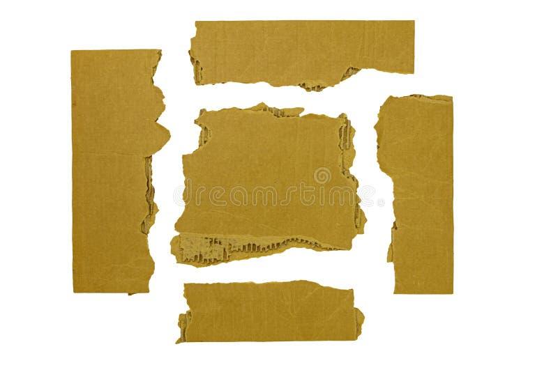 Bianco lacerato degli angoli delle strisce di cartone isolato immagine stock libera da diritti