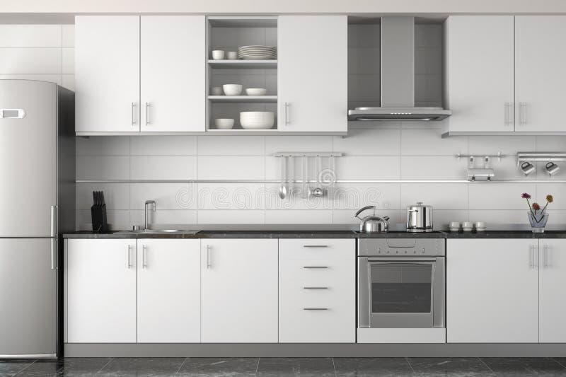 bianco moderno della cucina interna di disegno illustrazione di stock