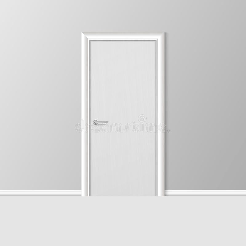 Bianco moderno semplice realistico 3d di vettore a porta chiusa con la struttura su Grey Wall nella stanza vuota elemento di inte illustrazione di stock