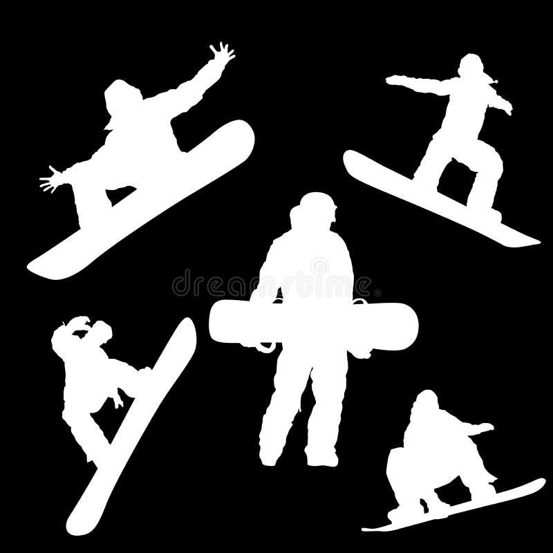 Bianco nel nero, la siluetta di uno snowboarder nelle pose differenti illustrazione vettoriale