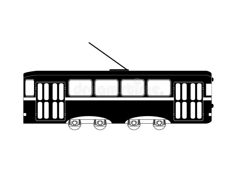 Bianco nero del tram o del treno royalty illustrazione gratis