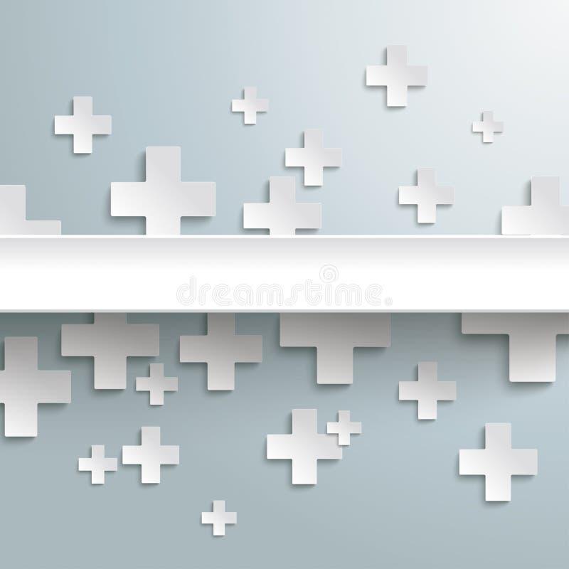 Bianco più i simboli con il centro PiAd illustrazione di stock