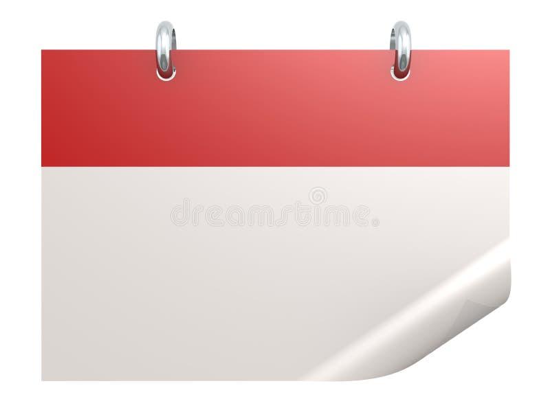 Bianco rosso in bianco del isolatedon del calendario illustrazione di stock