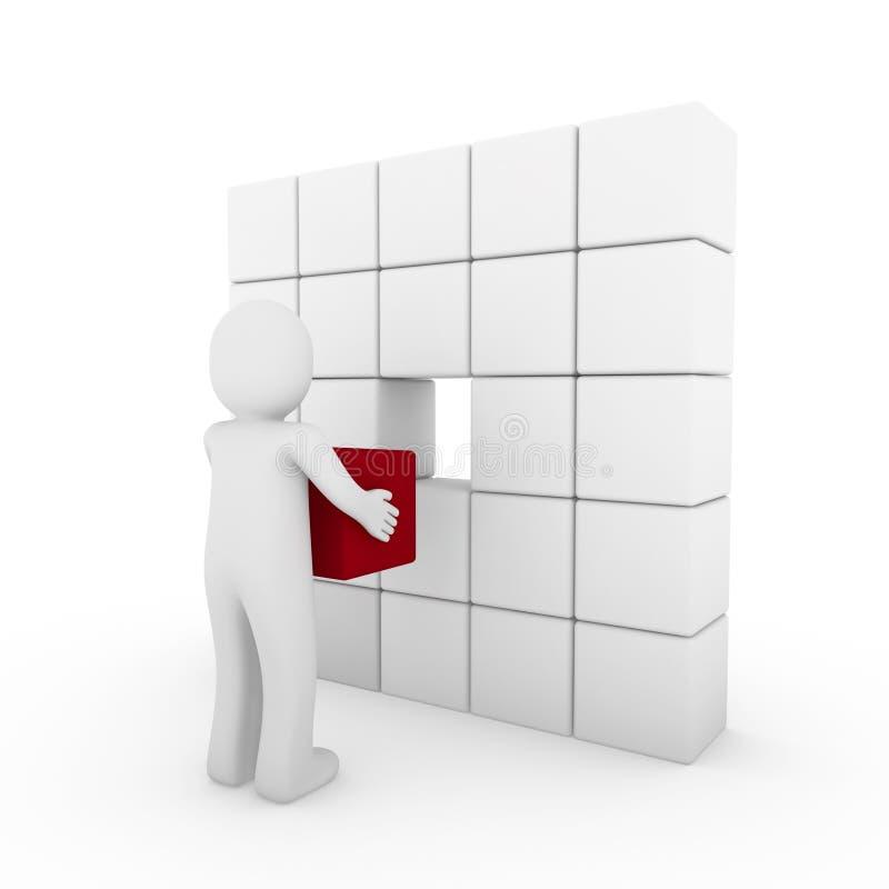 bianco rosso del cubo umano 3d illustrazione di stock