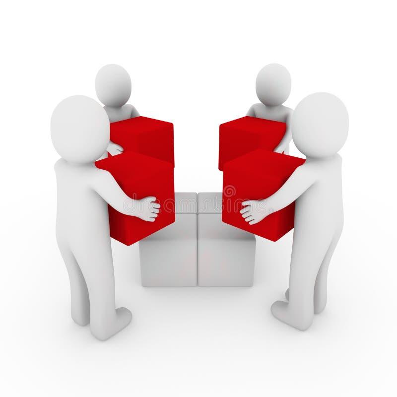 bianco rosso della squadra della casella del peoplecube 3d illustrazione vettoriale