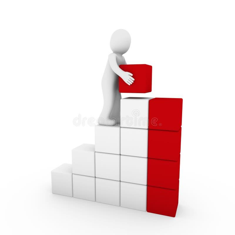 bianco rosso della torretta umana del cubo 3d royalty illustrazione gratis
