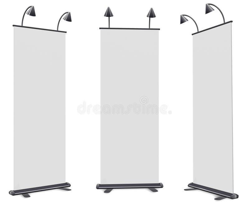 In bianco rotoli in su la visualizzazione della bandiera illustrazione di stock