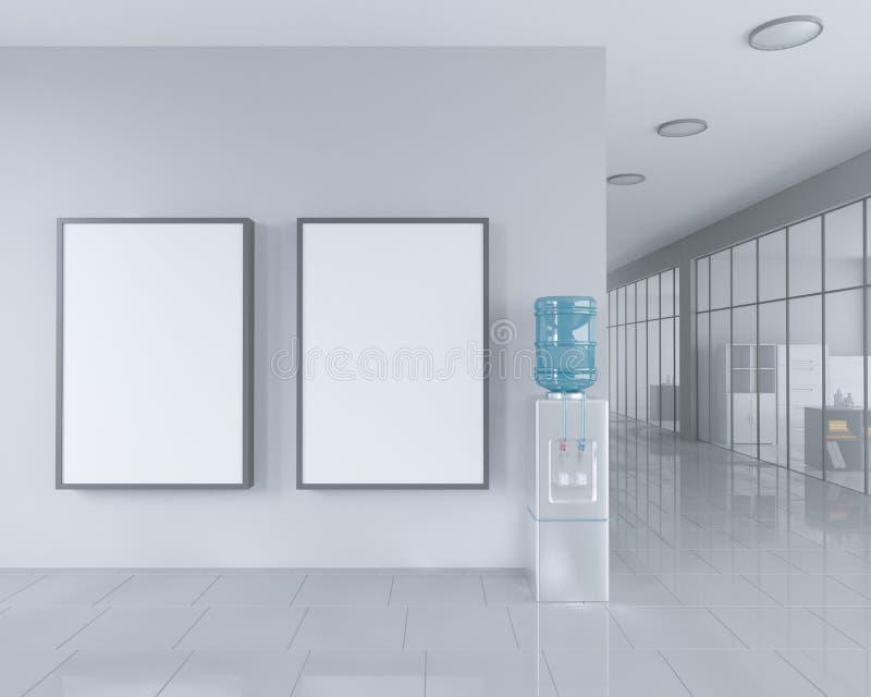 In bianco rotoli sul supporto dell'insegna nell'interno luminoso dell'ufficio con il percorso di ritaglio intorno al supporto del illustrazione vettoriale