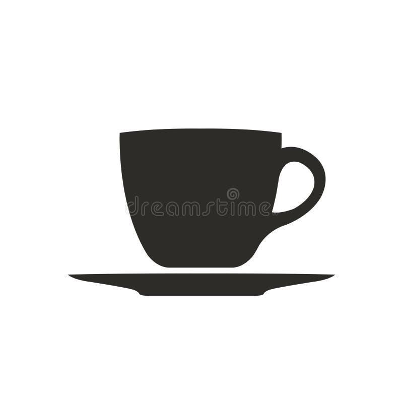 Bianco semplice dell'icona di simbolo della tazza di caffè isolato illustrazione vettoriale