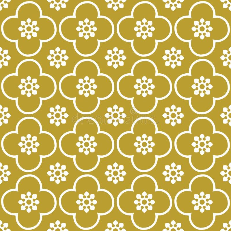 Bianco sul club dell'oro e sul fondo senza cuciture del modello di ripetizione del cerchio fotografia stock libera da diritti