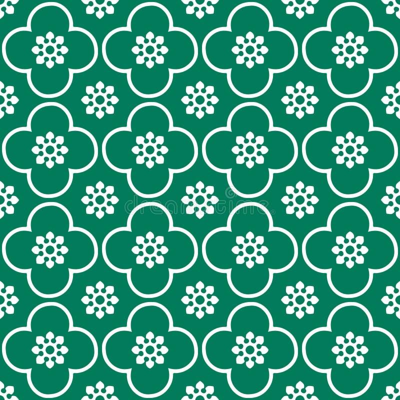 Bianco sul fondo senza cuciture verde del modello di ripetizione del cerchio e del club fotografia stock