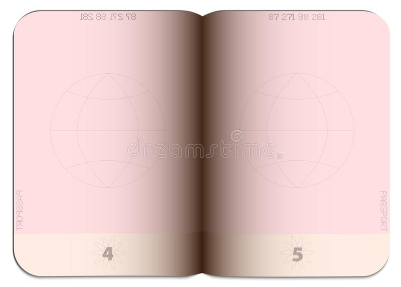 In bianco svuoti il modello generico aperto del passaporto illustrazione di stock